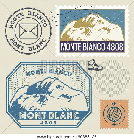 Post stamp set with the Mont Blanc (Monte Bianco) highest mountain in the Alps Adventure outdoor Expedition mountain vector illustration