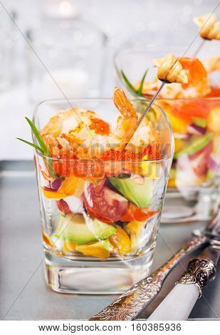 Shrimp, Avocado, Tomato, Salmon And Red Caviar Cocktail Salad In A Glass