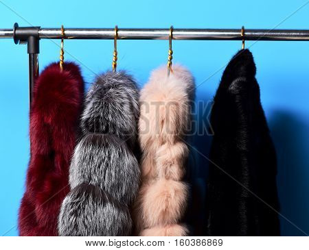 fashionable luxurious waist coats of fur hanging on rack on golden hangers on blue studio background