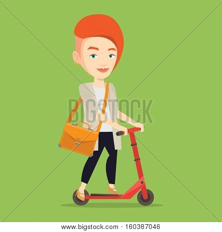 Young caucasian business woman riding a kick scooter. Business woman with briefcase riding to work on kick scooter. Business woman on a kick scooter. Vector flat design illustration. Square layout.