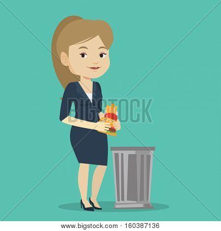 Caucasian woman putting junk food into a trash bin. Woman refusing to eat junk food. Woman rejecting junk food. Diet concept. Vector flat design illustration. Square layout.