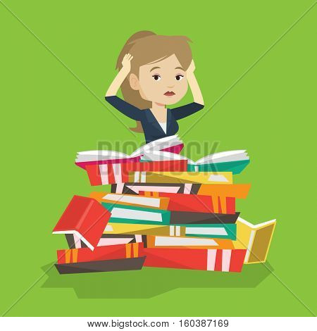 Caucasian student sitting in huge pile of books. Exhausted student preparing for exam with books. Stressed student reading books. Concept of education. Vector flat design illustration. Square layout.