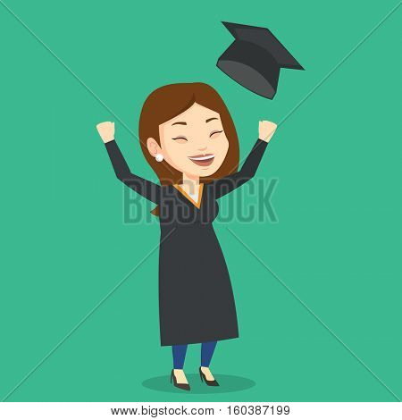 Excited graduate in cloak and graduation hat. Caucasian female graduate throwing up her hat. Cheerful female graduate with hands raised celebrating. Vector flat design illustration. Square layout.