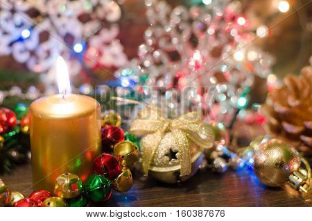 Christmas setting with lights christmas toys and shiny snowflakes traditional decorations shallow depth of field