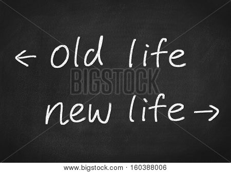 new life concept text on blackboard background