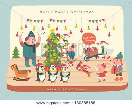 Merry Christmas Cartoon Vector. Animals in cartoon style