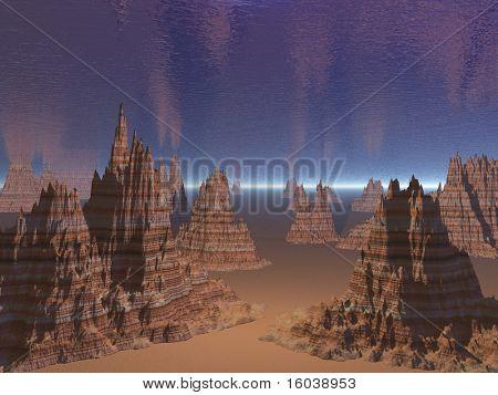 3D rendered otherworldly landscape