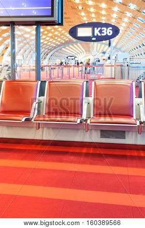 Red Seat In Departure Hall Of Airport