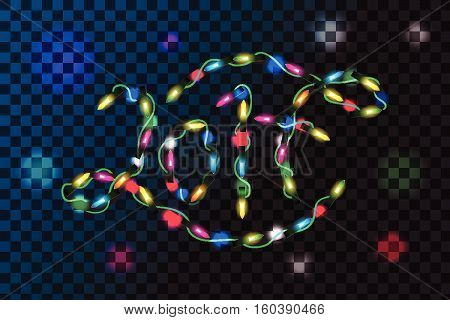 Vector illustration of new year decoration lights effects. Isolated design elements. Glowing lights for New Year Holiday greeting card design. 2017 new year decoration realistic luminous garland