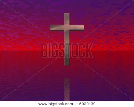 Cross floats in red sky