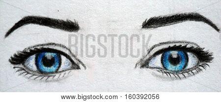 Beautiful blue woman eyes close up. Drawing