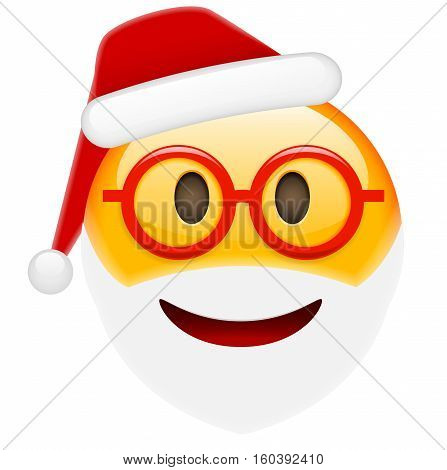 Santa Smile In Glasses Emoticon For Christmas And New Year