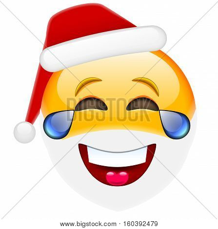 Laughing Santa Smile With Tears Emoticon For Christmas And New Year