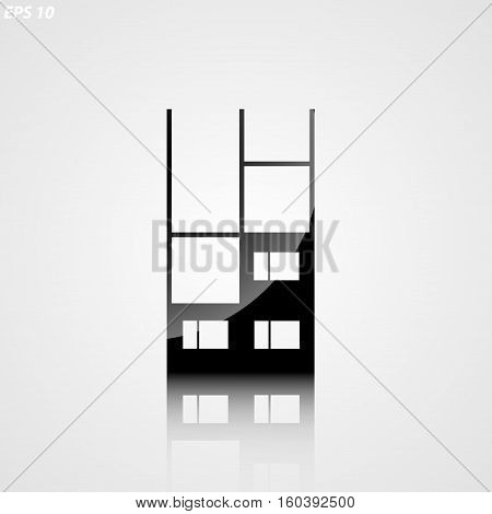 Icon Silhouette Of An Unfinished Building On A White Background