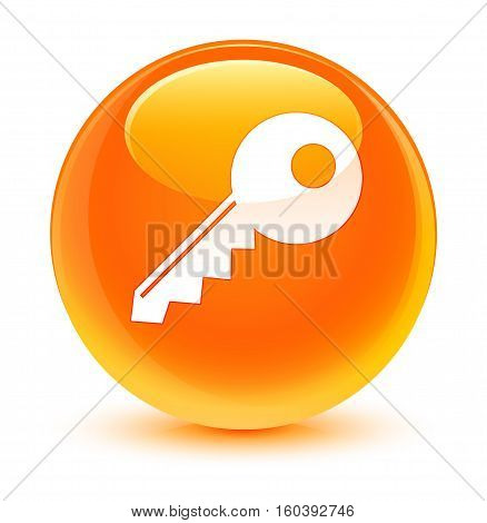 Key Icon Glassy Orange Round Button