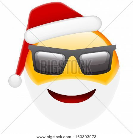 Santa Smile In Sunglasses Emoticon For Christmas And New Year