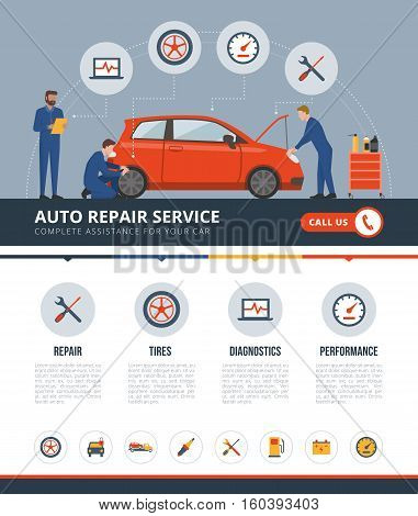 Auto repair service infographic with mechanics working on a car text and icons set: repair tires diagnostics performance