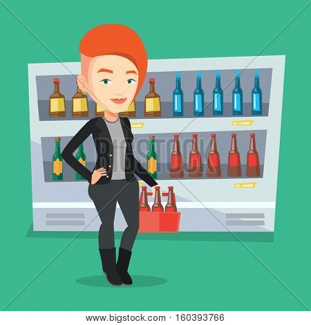 Woman standing in alcohol store with pack of beer on background of refrigerator with bottles. Woman buying beer. Beer lover holding pack with bottles. Vector flat design illustration. Square layout.