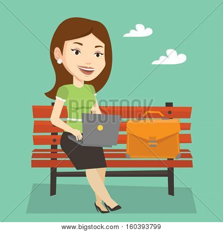 Caucasian business woman working outdoor. Happy business woman working on a laptop. Young business woman sitting on a bench and working on laptop. Vector flat design illustration. Square layout.