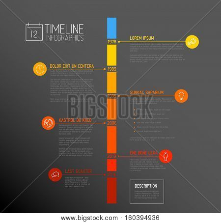 Vector Infographic timeline report template with the biggest milestones, icons, years and color buttons - vertical time line dark version