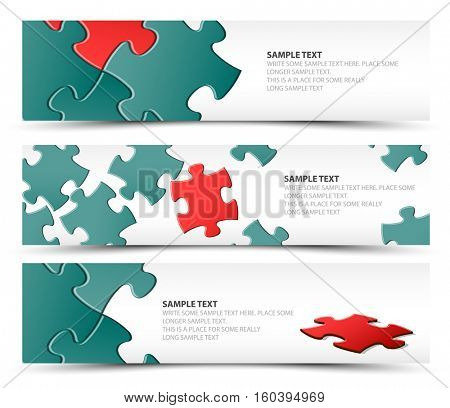 Set of puzzle horizontal banners - jigsaw or solution, reda nd teal version