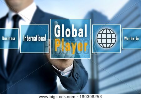 Global Player Touchscreen Is Operated By A Businessman