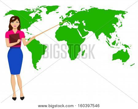 Vector illustration beautiful girl with a pointer shows the map of the world. Concept of a lesson of geography and weather forecast. Woman meteorologist broadcast on TV. Female report weather.