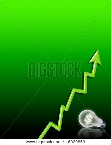 Hi-Res $ Symbol Bulb and chart background
