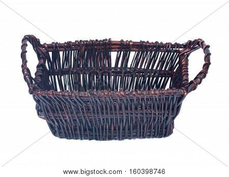 Empty wicker basket for gifts isolated on white background