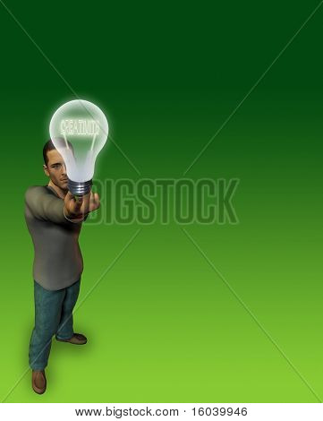 Hi-Res Man holds bulb of CREATIVITY filament