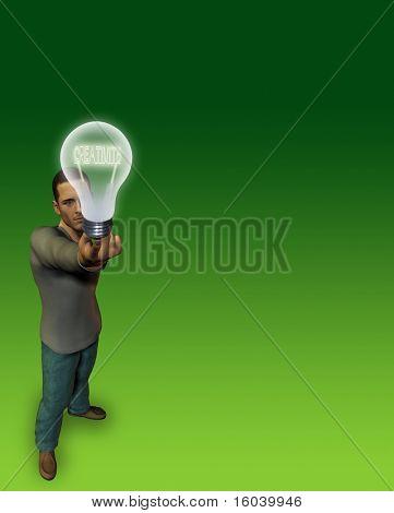 Hi-Res Man holds bulb of CREATIVITY filament