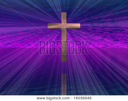Hi-Res Cross in purple sky with beams