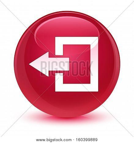 Logout Icon Glassy Pink Round Button