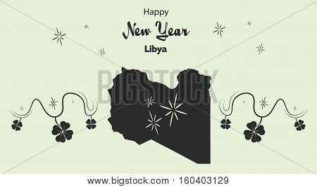 Happy New Year Illustration Theme With Map Of Libya