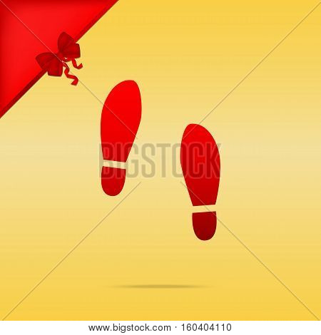 Imprint Soles Shoes Sign. Cristmas Design Red Icon On Gold Backg
