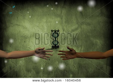 Hands reach toward each other with hourglass