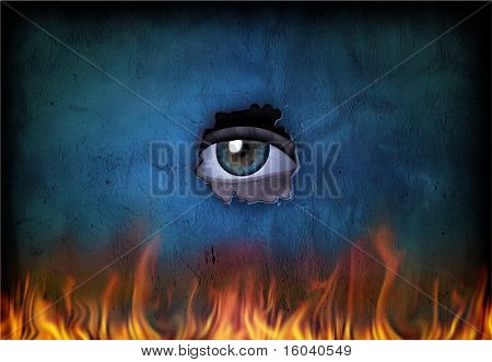 Eye looks through broken wall at fire