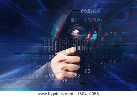 Spyware and ransomware concept with digital glitch effect spooky hooded hacker with magnifying glass stealing online identity nad hacking personal web accounts.