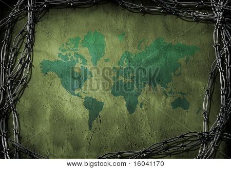 World caged by barbed wire