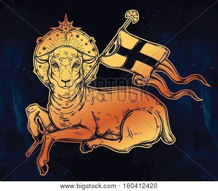 Lamb of God Christian Symbol with flag and halo. Agnus Dei in Latin. Beautiful religious art. Bible character. Alchemy, religion, spirituality, occultism, tattoo art. Isolated vector illustration.