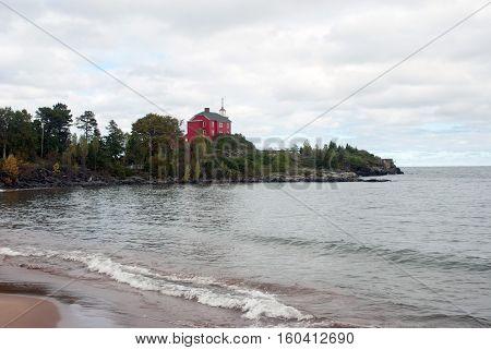 Landscape Lake Superior with Marquette Harbor Lighthouse, Marquette County, Michigan, USA