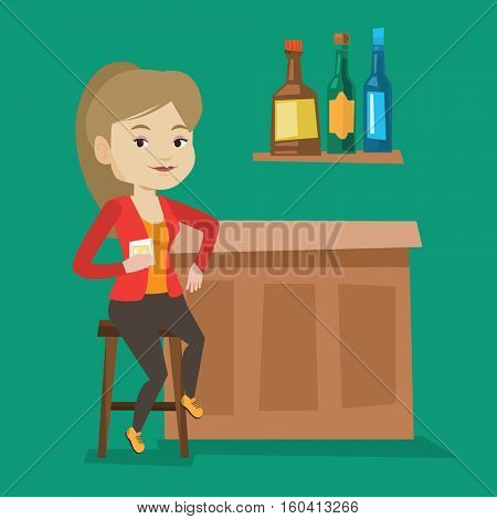 Young happy woman sitting at the bar counter. Woman sitting with glass in bar. Cheerful woman sitting alone and celebrating with an alcohol drink in bar. Vector flat design illustration. Square layout