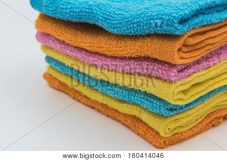 Closeup Colorful Beautiful towels for background .