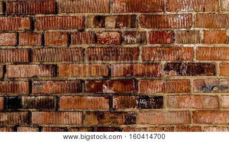 Brickwork. Grunge brick wall. Rough brick wall. Grunge brick background. Stains on the brick.