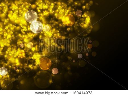 Golden festive abstract luminous Christmas particles vector background