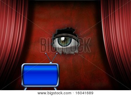 Eye peers through hole in stage wall, retro TV
