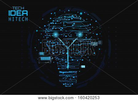 Blue silhouette icon of a light bulb in form of printed circuit board, flat style illustration