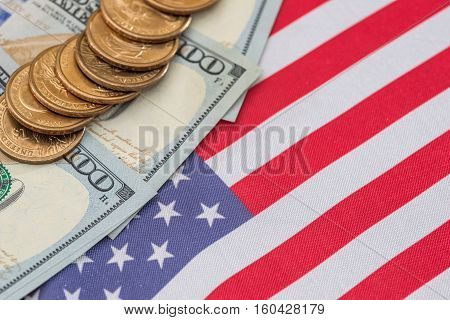 Abstract business background - us flag and cent coins nationalism concept.