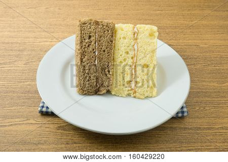 Snack and Dessert Vanilla and Coffee Chiffon Cake Made With Butter Eggs Sugar Flour Baking Powder and Flavorings on A Dish.