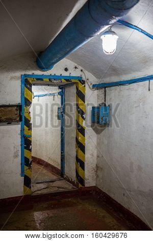 Balaklava, Crimea - September 2016: Door in secret underground submarine base in Sevastopol a secret military installation during the Cold War. Russia